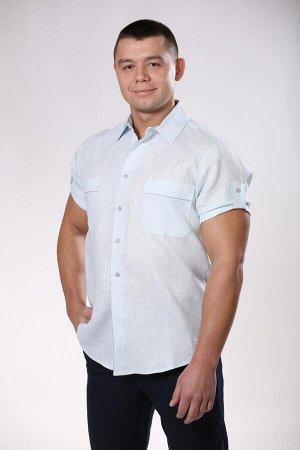 Рубашка мужская серо-голубая, лён 100%, 54 р., ворот 44