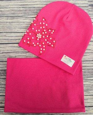 Набор шапка + снуд. Цвет ярко-розовый.