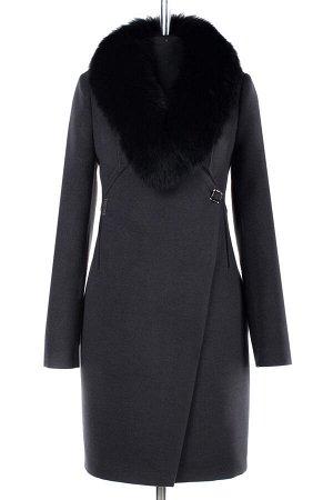 02-1884 Пальто женское утепленное Пальтовая ткань темно-серый