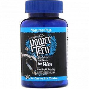 Nature's Plus, Source of Life, Power Teen, для мальчиков-подростков, без сахара, натуральный вкус лесных ягод, 60 жевательных таблеток