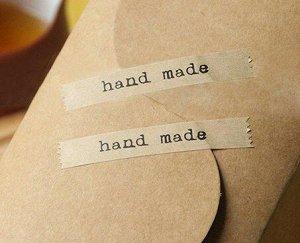 Наклейка стикер для упаковки Hand made прямоугольная