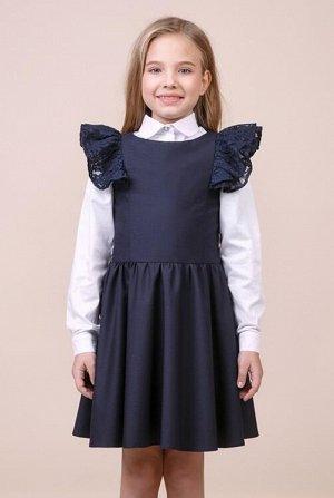 Сарафан для девочки  синий КРУЖЕВО