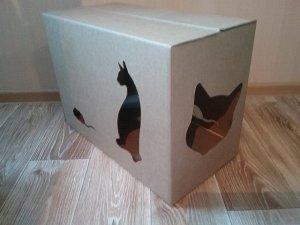 Картонный домик для кошки (под маленькую когтеточку)