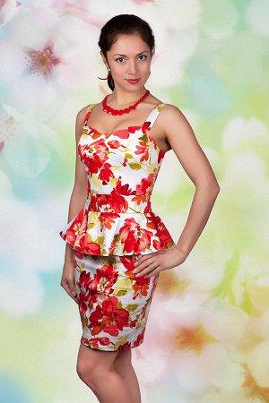 Платье 1096, красные цветы