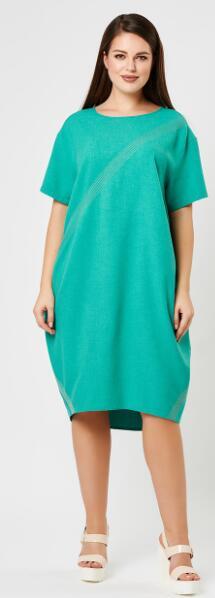Платье Зеленый,, карри. Длина: 110 см Состав: лён 60%, полиэстер 35%, спандекс 5%.