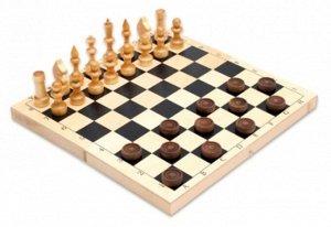 Набор 2 в 1 малый. Шахматы +Шашки нат.дерево