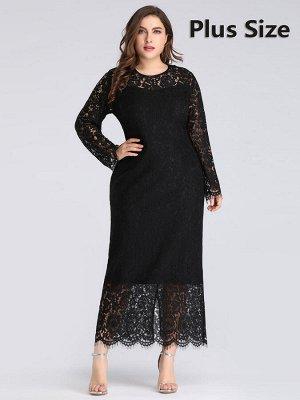 Коктейльное черное кружевное платье с рукавами