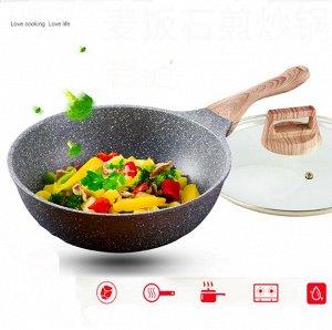 Сковорода С крышкой, подходит для всех видов плит. Сковорода изготовлена из алюминия с антипригарным покрытием. Сверхпрочное антипригарное покрытие нового поколения состоит из нескольких слоев каменно