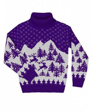 Фиолетовый вязаный свитер для девочки Цвет: фиолет