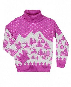Розовый вязаный свитер для девочки Цвет: розовый