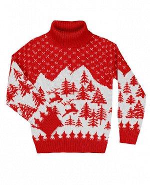 Красный вязаный свитер для девочки Цвет: алый