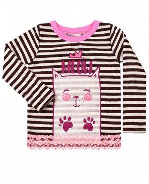 Джемпер для девочки в полоску Цвет: коричневый
