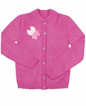 Кофта вязаная для девочки Цвет: малиновый