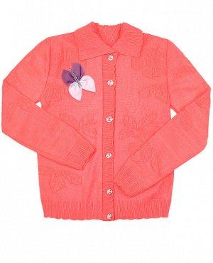 Кофта вязаная для девочки Цвет: оранжевый