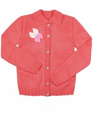 Кофта вязаная для девочки Цвет: коралловый