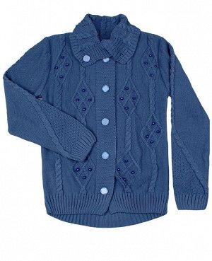 Кардиган вязаный для девочки Цвет: синий