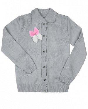 Кофта вязаная для девочки Цвет: серый