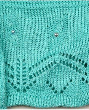 Кофта вязаная для девочки Цвет: бирюзовый
