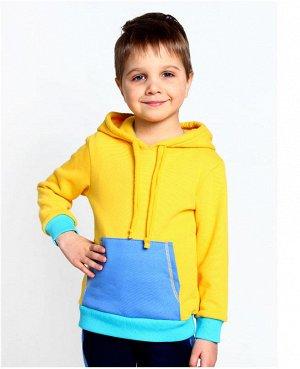 Джемпер для мальчика с карманом кенгуру Цвет: жёлт+голубой