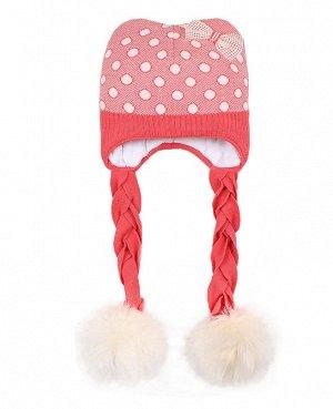 Шапка для девочки с меховым помпоном Цвет: коралловый