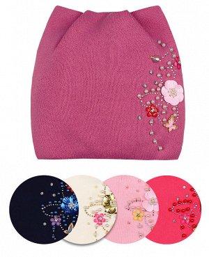 Шапка для девочки на флисовой подкладке Цвет: розовый