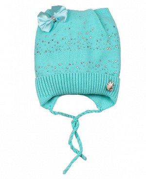 Детская шапка для девочки Цвет: ментоловый