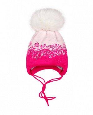 Белая шапка для девочки на синтепоне Цвет: белый