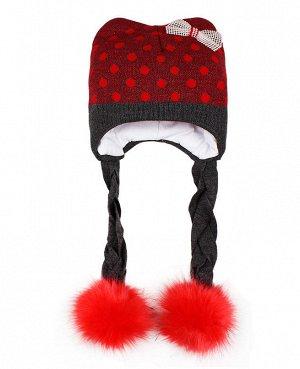 Шапка для девочки с меховым помпоном Цвет: красный