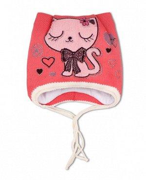 Шапка для девочки на синтепоне Цвет: коралловый