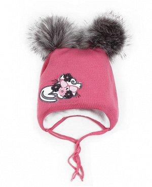 Розовая шапка для девочки Цвет: розовый