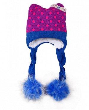Шапка для девочки с меховым помпоном Цвет: голубой