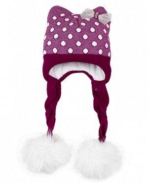 Шапка для девочки с меховым помпоном Цвет: фиолетовый