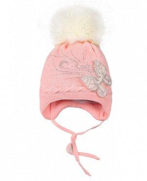 Розовая шапка для девочки на синтепоне Цвет: розовый