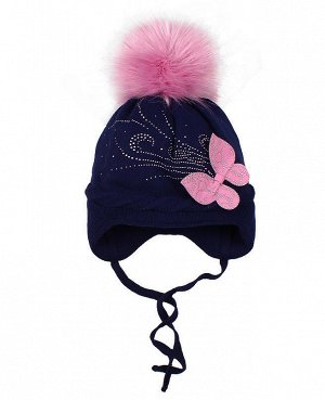 Синяя шапка для девочки на синтепоне Цвет: синий