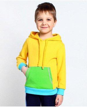 Джемпер для мальчика с карманом кенгуру Цвет: желт+зелен