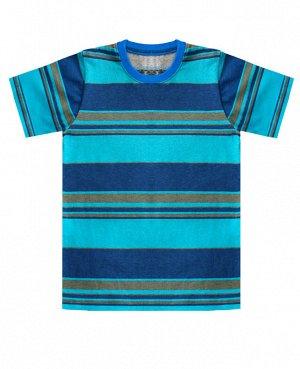 Футболка для мальчика в полоску Цвет: бирюза+полоска