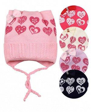 Шапка для девочки на подкладе Цвет: розовый