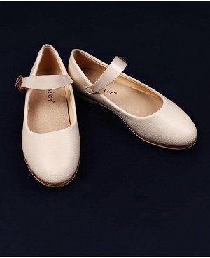 Школьные туфли для девочки Цвет: бежевый