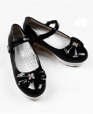 Туфли для девочки, черные р. 25-30 Цвет: черный