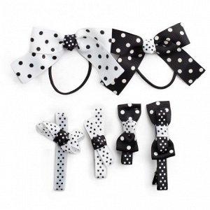 Комплект аксессуаров для волос для девочек: заколки - 4 шт., резинка - 2 шт.