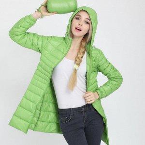 Женская удлиненная ультралегкая куртка  С КАПЮШОНОМ, цвет светло-зеленый
