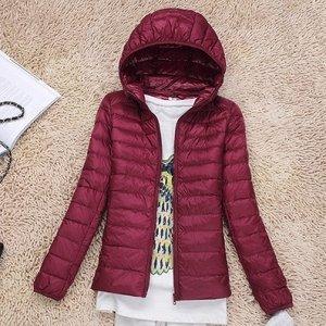 Ультралегкая женская куртка с капюшоном, цвет красное вино