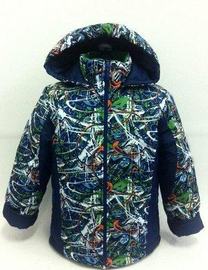 Куртка Ткань верха: ФАЙЛ Подкладка: флис, рукава - подклад.ткань Утеплитель: синтепон 150 г/кв.м Состав костюма: 100% п/э Рост: 98,104,110,116 Цвет: темно-синий