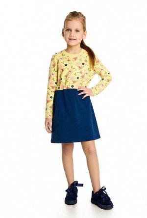 Goldy Беларусь; 92% хлопок 8% лайкра; жетлый-т.синий; Платье на девочку из хлопкового принтованного трикотажа найвысшего качества пенье, с отрезной однотонной юбкой.Трикотаж