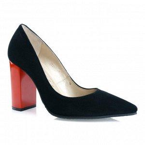 Замшевые туфли на устойчивом каблуке. Модель 2315 эк замша+кабл.редоранж