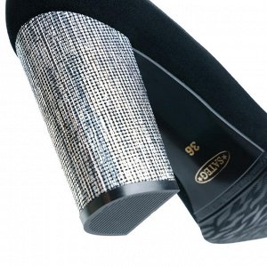 Замшевые туфли на устойчивом каблуке. Модель 2315 эк замша+кабл.серебро
