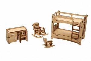 """Мебель (длина/ширина/высота, см).  кроватка 2-х ярусная: 6,5*12,5*10,5. игрушка-качалка """"конь"""": 2*4*3,5. кресло-качалка: 6*4*6. стол письменный: 3*7,5*5. стул: 3*3*4,5"""