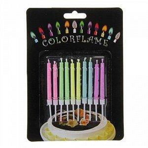 Набор свечей для торта с цветным пламенем и держателями