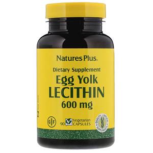 Nature's Plus, Лецитин из яичных желтков, 600 мг, 90 вегетарианских кап