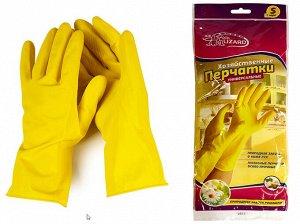 Перчатки хозяйственные латексные c хлопковым напылением Ice-Lizard Желтые с ароматом ромашки